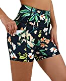 ODODOS Women's 5' High Waist Pattern Workout Bike Shorts, Yoga Running Compression Exercise Biker Shorts with Out Pockets, Tropical Flower, Medium