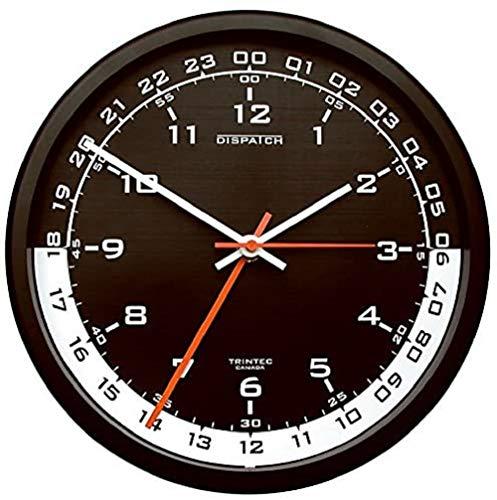 Trintec 12y 24horas de tiempo militares SWL Zulu tiempo reloj de pared 24HORAS esfera de color negro con blanco luna dsp04
