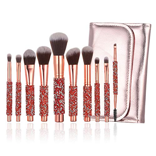 YINUO 10 Pcs Fashion Bling Rhinestones Crystal Makeup Brush Set with Pink PU Brush Bag,Wooden Handle Foundation Powder Blush Eyeline Flat Cosmetic Brush Set for Women Girls Birthday Gift