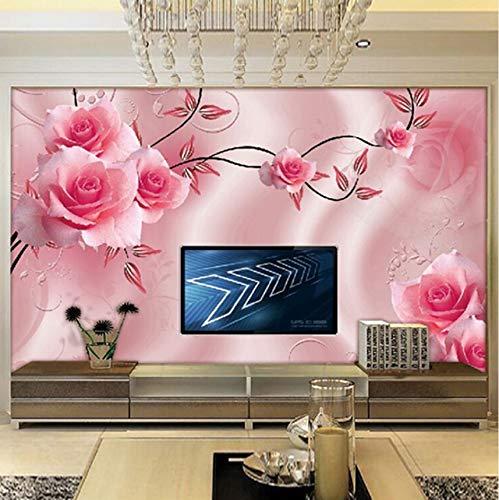 Kyzaa Custom Foto Wallpaper Luxury Villa TV achtergrond, 3D-muurbehang, voor warme muren, roze 140X100cm (55.12*39.37 in)