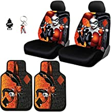 Yupbizauto 8 Pieces DC Comic Harley Quinn Car Seat Covers Floor Mats Set with Air Freshener