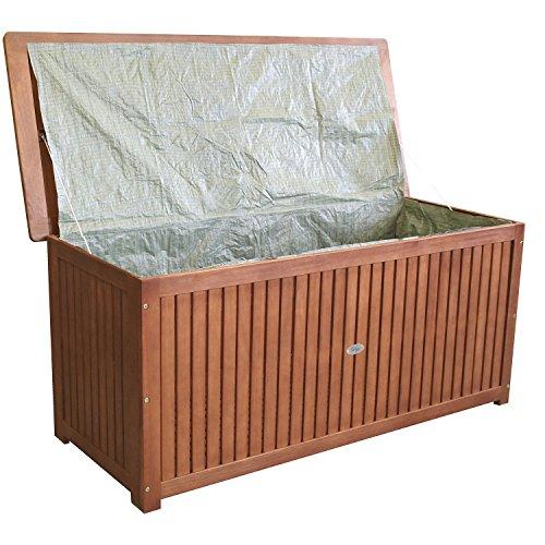Wohaga® Hartholz Auflagenbox Kissenbox Gartenbox Auflagentruhe Eukalyptus geölt inkl. Innenfolie 133x58x55cm - 2