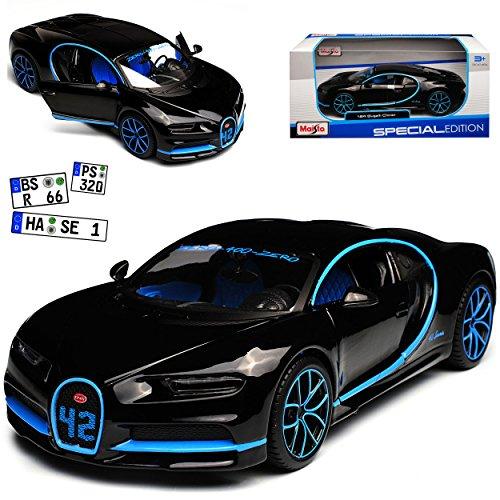Maisto Bugatti Chiron Coupe Schwarz Weltrekord 42 Sekunden 0-400-0 Km/h Ab 2016 1/24 Modell Auto mit individiuellem Wunschkennzeichen