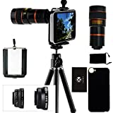 CamKix Kit obiettivi per fotocamera Compatible con Apple iPhone 5C incl Lente Ojectievo 8x per tele/fisheye / 2 in 1 Macro e grandangolo/Cavalletto/Supporto/Custodia/Borsa/Panno