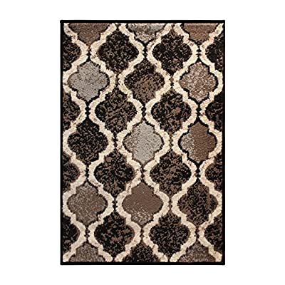 "SUPERIOR Eret Indoor Area Rug, Super Soft, Durable, Elegant, Geometric, Trellis Pattern, Mid-Century, Contemporary, Jute Backing, Chocolate, 3"" x 5"" Runner"