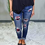 Awolf Buffalo Plaid Patch Jeans - Women's Buffalo Plaid Print Ripped Jeans, Christmas Red Plaid Printed Casual Jeans - Patchwork Destroyed Skinny Jeans Fashion Mid Rise Ripped Denim Pants (Blue, XL)