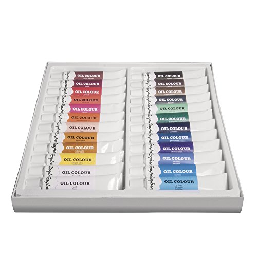 Rayher Hobby 38919000 Ölfarben-Set, 24 Farben, je Tube 12 ml, ideal für Keilrahmen, Leinwand, Malkarton, für Anfänger und Künstler
