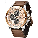 Mens Watches Chronograph Gold Blue Stainless...