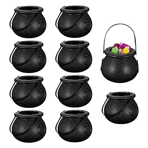 10 Piezas Mini Cubo de Caramelo de caldero de Bruja con Mango Caldero Soporte de Caramelo Halloween Cabezas de Calavera Tazas de calderas en Forma Tazas Truco o Trato de Titular decoración Wit