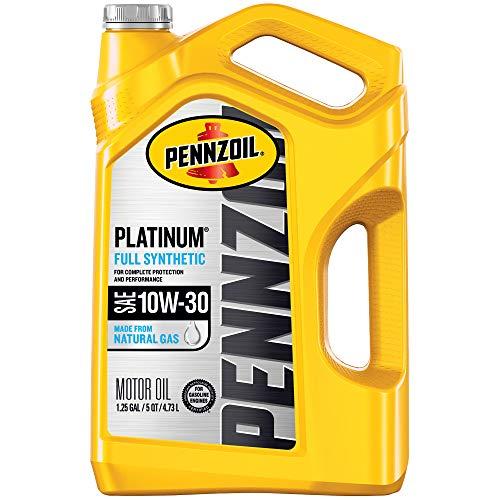 Pennzoil Platinum Full Synthetic Motor Oil  10W-30, 5 Quart - Pack of 1