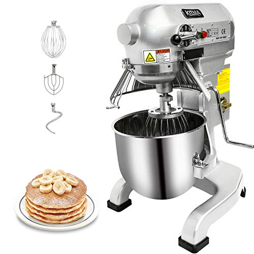KITMA Commercial Food Mixer - 10 Quart 750W 3 Speed Heavy Duty Dough Mixer with Stainless Steel...