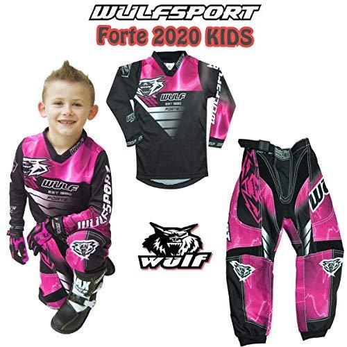 Motorrad Kinderanzug WULFSPORT FORTE 2020 Kinder Motorradkombi MX Hosen Hemd Pit Dirt ATV Quad RENNEN Roller Motorradanzug Jersey Pant RENNKLEIDUNG (ROSA - 8-10 Jahr)