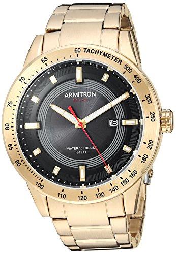 Armitron Men's 20/5288BKGP Solar Powered Date Function Gold-Tone Bracelet Watch