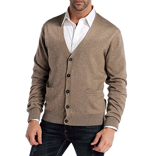 Kallspin Men's Relax Fit V-Neck Cardigan Cashmere Wool Blend Button Down with Pockets (L, Coffee)
