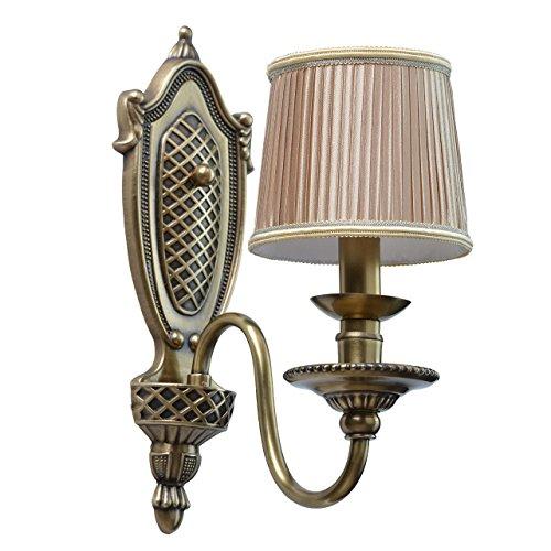 Chiaro 411021101 Applique Style Baroque Armature en Métal couleur Laiton Abat-jour en Tissu Lilas Plissé pour Chambre 1x40W E14