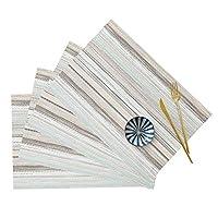 UNITRIP ランチョンマット 4枚セット PVC織り プレースマット 方形 縞柄 北欧風 撥水 断熱 防汚 滑り止め テーブルマット 家庭 レストラン用 (ブルー)