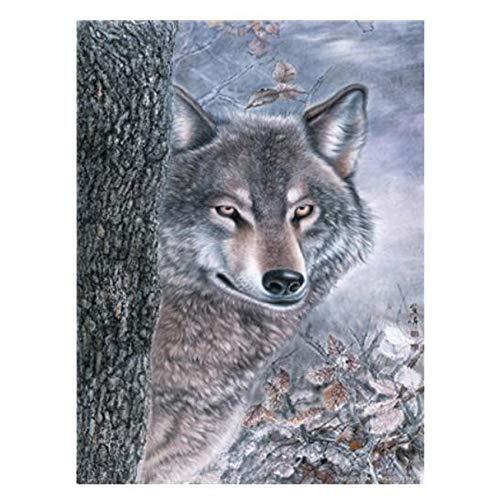 Cuadro de Lobo de Wenshu Pintura al óleo Arte Animal acrílico Pintura al óleo Lienzo decoración del hogar Sala de Estar 50x70cm sin Marco