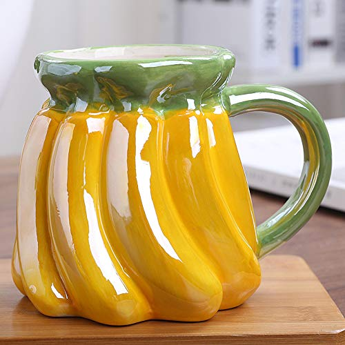 Taza de agua de 450 ml creativa taza de cerámica de frutas linda taza de café de fresa con mango para niños taza de leche personalizada con forma de fruta (color: plátano)