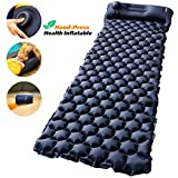 AirExpect Camping Sleeping Pad with Built-in Pump Upgraded Inflatable Camping Mat with Pillow for Backpacking, Traveling, Hiking, Durable Waterproof Air Mattress Compact Ultralight Hiking Pad