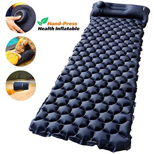 Camping Sleeping Pad with Built-in Pump – AirExpect Upgraded Inflatable...