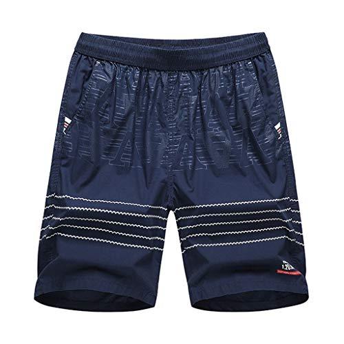 Xmiral Shorts Herren Einfach Gedruckte Elastische Taille Lässig Kurze Hosen Slim Fit Gerade Cargohose Jogginghose Sportshorts Chino-Hose(e Dunkelblau,XXL)