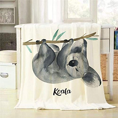 BJOLEdS Koala Throw Blanket Australian Animals Watercolor Wildlife Isolated on a White Background Extra Soft Warm Lightweight Cozy Flannel Plush Blankets for Bedding Sofa Couch 40 X 60 Inch