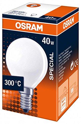 Osram Lampadina Forma P Per Forni 300° E14 Smerigliata, Vetro, Chiara, 40 W