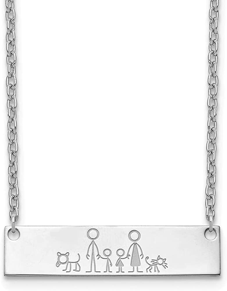 Cheap Limited time sale Solid 925 Sterling Silver Family Stick Pendant Bar Medium People