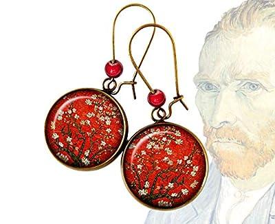 Boucles d'oreilles Vincent Van Gogh Branches fleuries d'amandier rouges