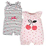 Gerber Baby Girls' 2-Pack Rompers, Pink Cherry, 12 Months