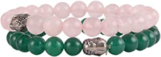 Aatm Natual Healing Gemstone Rose Quartz with Jade Budha Bracelet