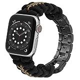 Wearlizer Cinturino per orologio Paracord compatibile con Apple Watch 42 mm 44 mm per iWatch Serie 6 5 4 3 2 1 SE Uomo Paracord intrecciato a mano con fibbia in acciaio inox nero + verde
