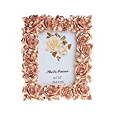 Memorecoder Resin Picture Frame Rose Flower Decorative with High Definition PVC Plexi Glass for Table Top Desk Photo Display Rose Gold Color Memento, 3.5x5 inch