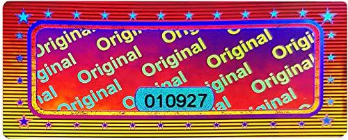 60 Stk - 3D Hologramm Original-Siegel mit Seriennummer - 46x20mm silber glänzend - Sicherheitssiegel, Qualitätssiegel, Sicherheitsetiketten selbstklebendes Etikett Echtheitssiegel