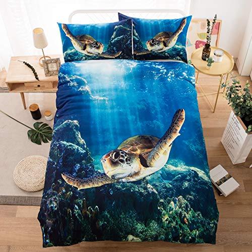 RTSE - Funda de edredón infantil para cama infantil, diseño de tortuga de mar, multicolor