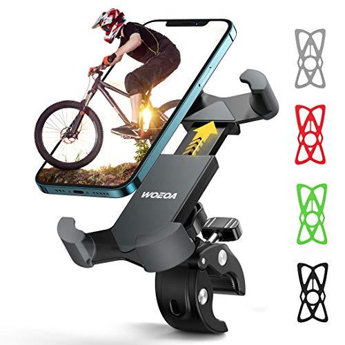 WOEOA Soporte Movil Bicicleta, Soporte Manillar para Smartphone, Anti Vibración Porta Movil Bici Accesorios Compatible con iPhone 12 Mini/ 12/ 11 Pro MAX/XS MAX/XR, Samsung S20 4.7'-7' Phones