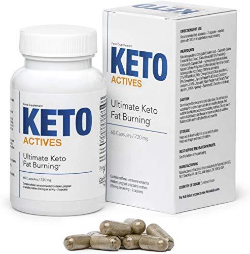 KETO ACTIVES Premium - Das beste -100% natürliche Inhaltsstoffe, enorme Fettverbrennung, Entfernung von Körperfett an Taille, Hüften und Beinen, 60 Kapseln
