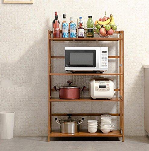Yxsd Estante for Almacenamiento de la Cocina Estante for Horno de microondas Estante de 4 Niveles, Utensilios de Cocina multifuncionales Grandes Estante del Organizador, bambú (Size : 66cm)