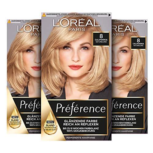 L'Oréal Paris Préférence 8 Naturblond (California) 3er Pack(3 x 183 g)