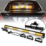 [Upgraded] Xprite 31.5' 28 LED Strobe Emergency Traffic Advisor Warning Light Bar 13 Flashing Patterns Suction Cup Mount for Vehicles Trucks Jeep SUV ATV Cars - White & Amber/Yellow