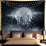 Psychedelic Trippy Tapestry Mysity Forest Tapestry Moon Tapestry Black Forest Tree Under Galaxy Moon Night Sky fairy forest Wall Hanging Tapestry For Bedroom Men Room Decor(Black Grey, 78'L*58'W)