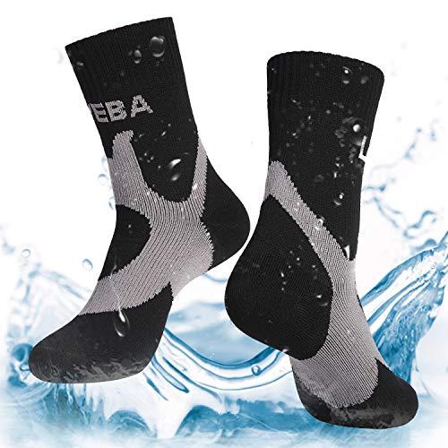 Layeba 100% Waterproof Breathable Socks [SGS Certified] Unisex Outdoor Sports Hiking Trekking Skiing Socks 1 Pair & 2 Pairs (Black, Medium)
