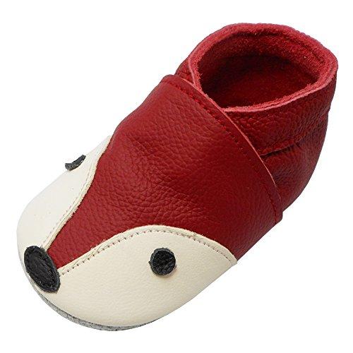 YIHAKIDS Bébé Filles Garçons Chaussures Cuir Souple Enfant Chaussons Cuir Doux Chaussures Premiers Pas Dessin Renard(Rouge, 24-36 Mois, Size XXL, 26 EU)