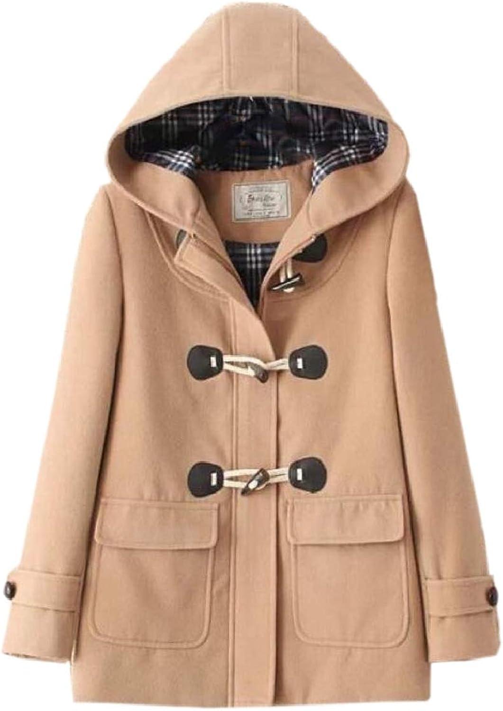 LKCENCA Women's Hood Solid color Button Down Warm Woolen Thicken Pea Coat