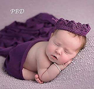Handmade Baby Crown, Infant Girl First Birthday Prop, Newborn Photography Prop, All Infant Sizes, Purple Cotton