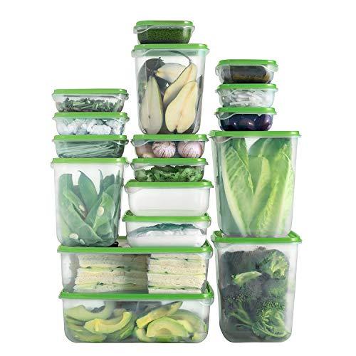 Shopwithgreen Boîte de rangement alimentaire en plastique avec couvercles, 17 ensembles (34 pièces) de récipients de préparation de repas, boîtes à repas hermétiques, sans BPA et approuvées par la