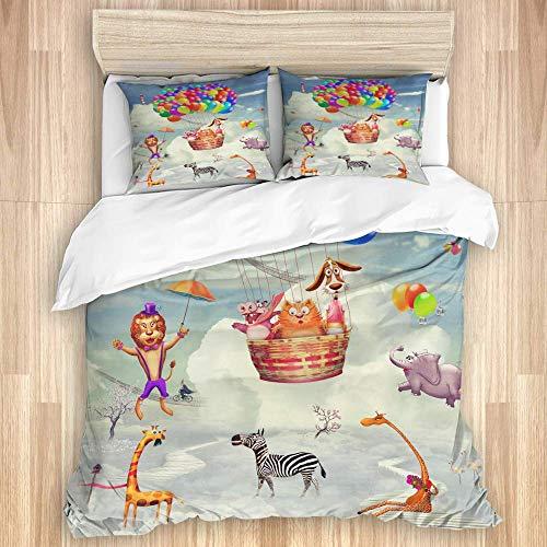 Juego de funda nórdica de 3 piezas, animales en el planeta fantástico en el cielo, juegos de fundas de edredón de microfibra de lujo para dormitorio, colcha con cremallera con 2 fundas de almohada