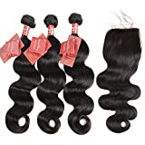 Moda Mode Hair Virgin Human Hair Extensions Brazilian Body Wave 3 Bundles with Lace Closure Free Part (20 22 24+18inch Closure) Tangle Free Natural Color Weft