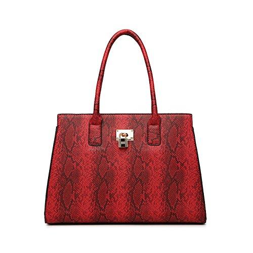 Coolives Sac à Main pour Femme avec Bandoulière Réglable Damas Sacs a épaule en Cuir PU Vin Rouge