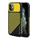 LAUDTEC iPhone 11 Case 6.1 inch Stripe Pattern of Leather Material with Anti-Skid Texture Design and TPU Hybrid Case Cover for iPhone 11 2019 (Yellow)